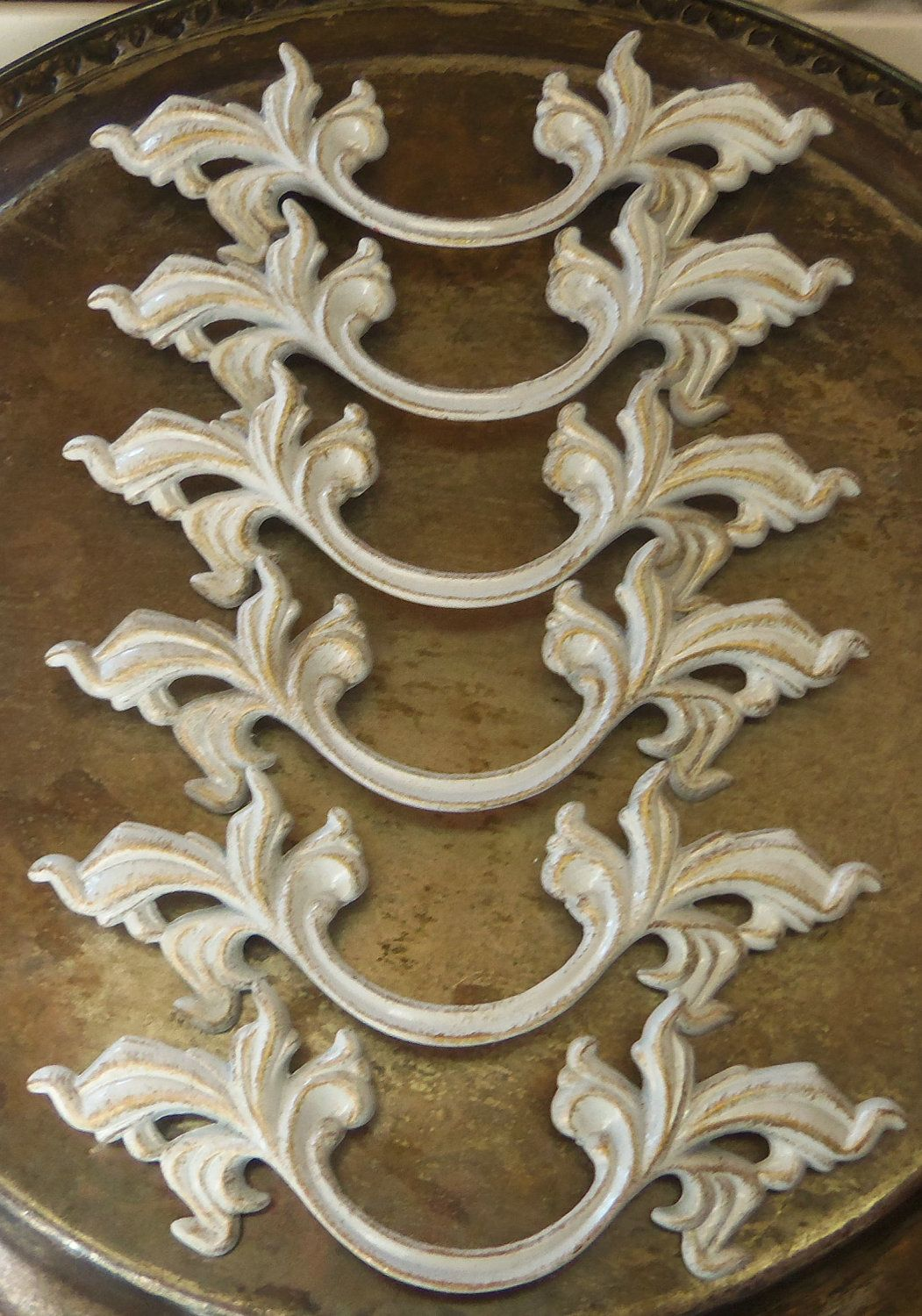 6 French Provincial Drawer Pulls White Shabby Distressed 5 75 Inches Long 3 Inch Centers 36 00 Via Etsy