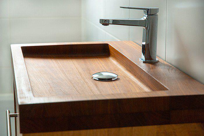 holzwaschbecken badezimmer gestalten holzoberfläche Wooden sink