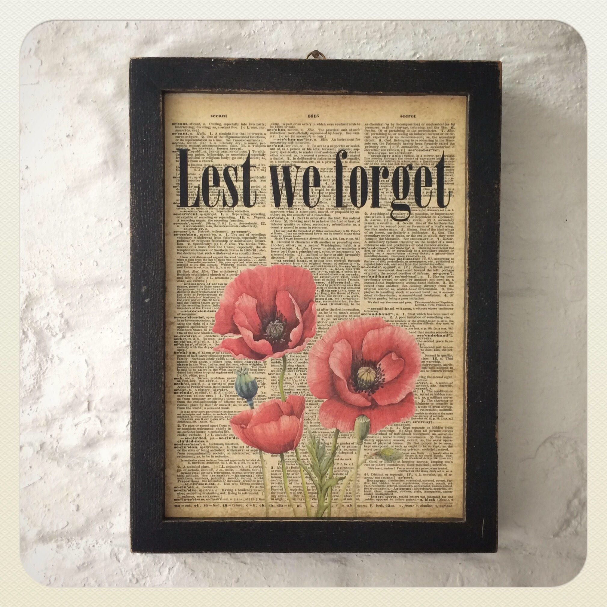 Vintage remembrance themed framed wooden wall art by
