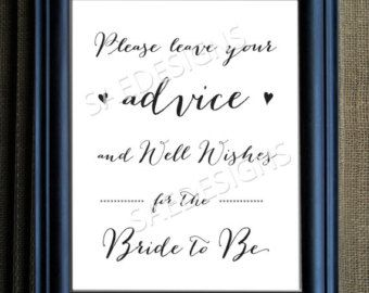 Wedding Day Advice For The Bride And Groom Sign Print Poster Matching Cards Diy Instant Digital Printable 8x10