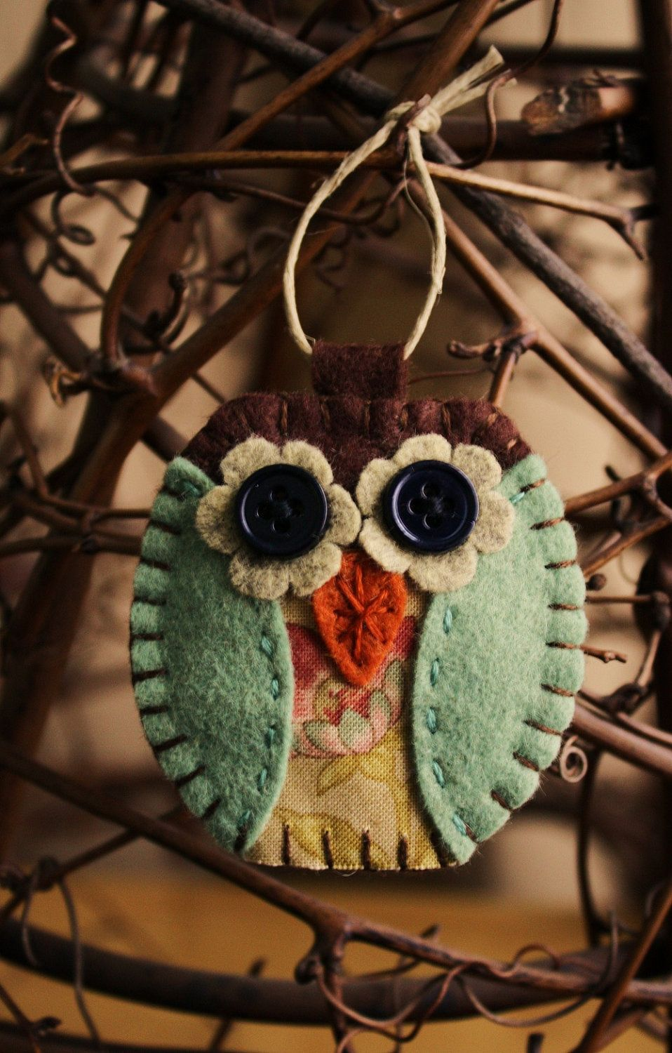 Wool felt ornaments - Owl Felt Ornament Wool Felt And Fabric Decoration