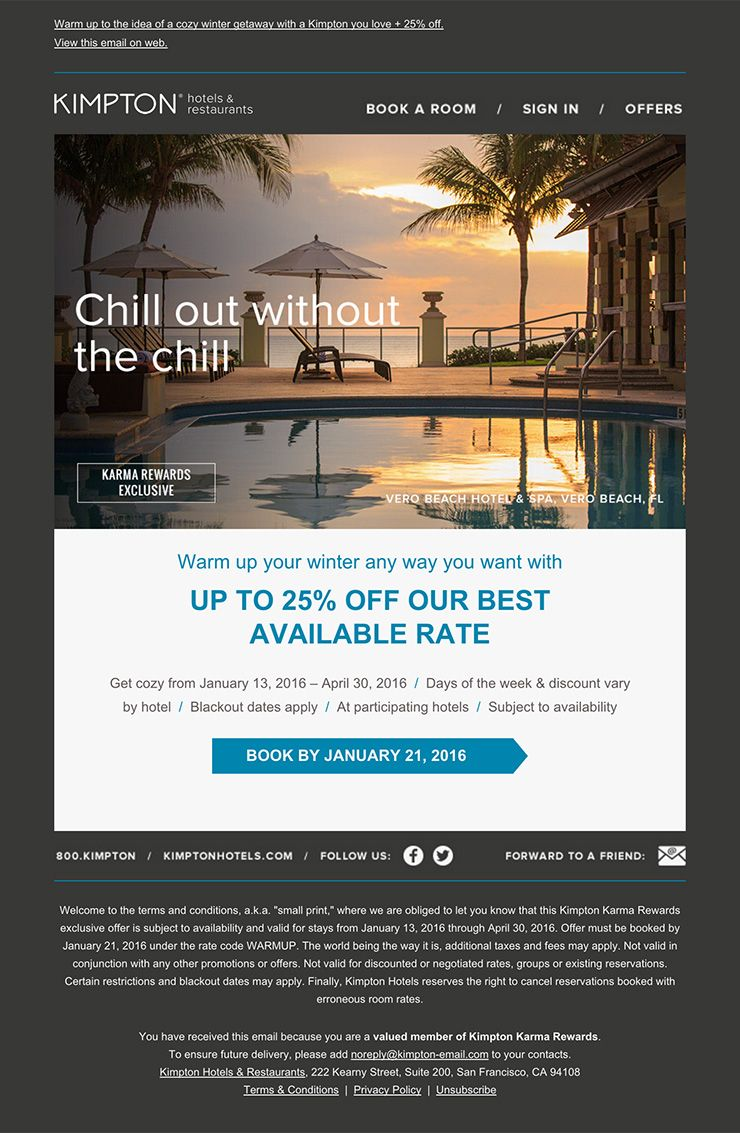 Nice and clean hotel email design Design responsive