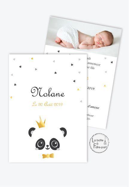 Annonce de naissance pour un garçon – PANDA CROWN – F