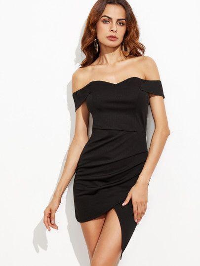 Black Off The Shoulder Ruched Wrap Dress