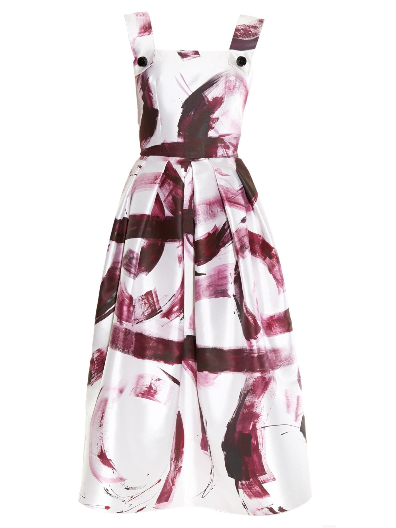 DOLCE & GABBANA Paint-print silk-mikado dress