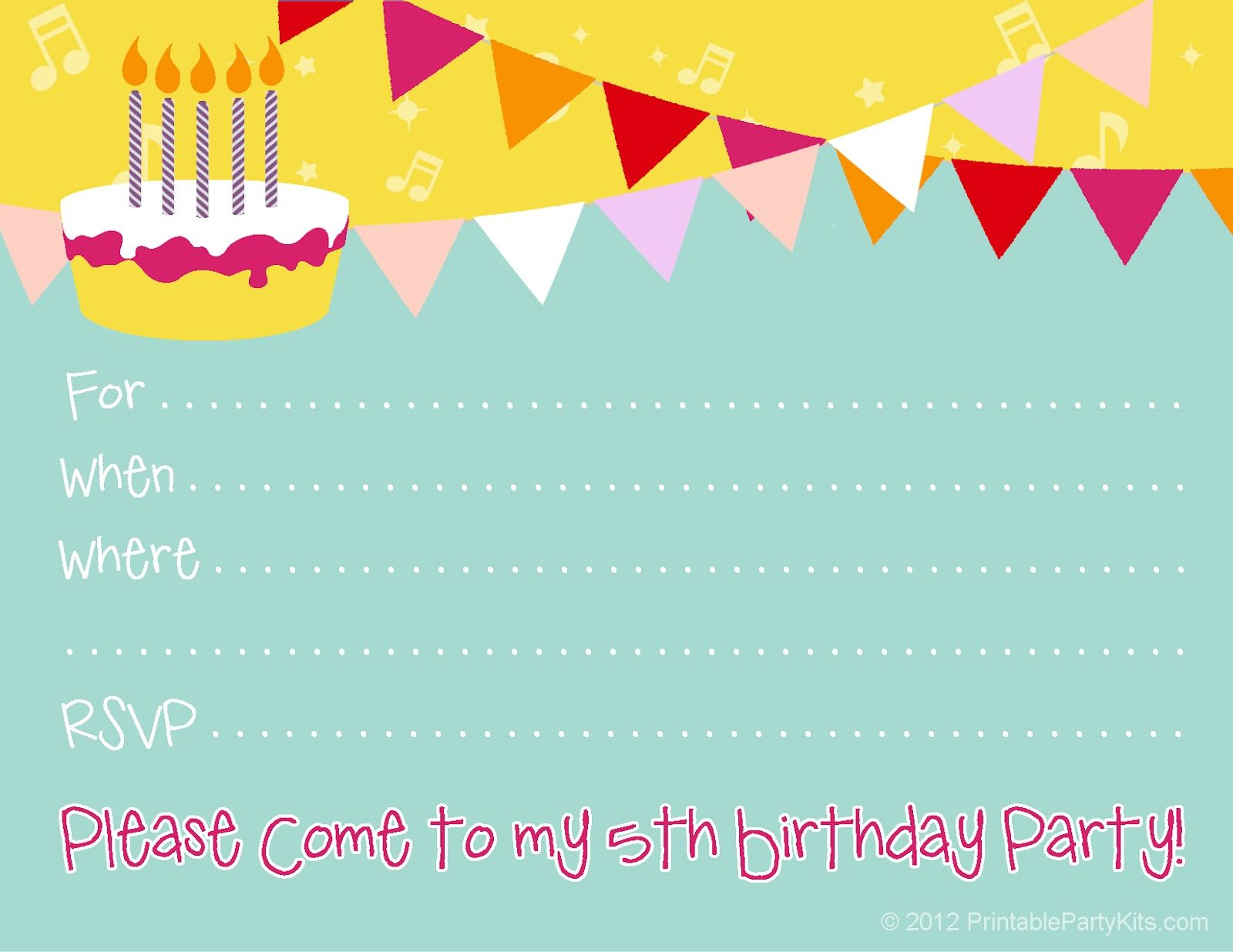 A cute free printable 5th birthday invitation for boys or girls – Free Kids Party Invitations to Print