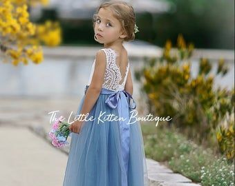 White Lace Flower Girl Dress, Gray Tulle Long Sleeve Wedding dress, Dusty Blue Ball Gown, Floor Length, Boho Chic Beach, Smoke Steel Blue -   19 dress Flower Girl blue ideas