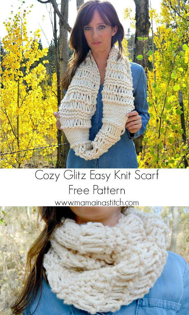Cozy Glitz - Chunky Knit Infinity Scarf Pattern | Big needle, Super ...