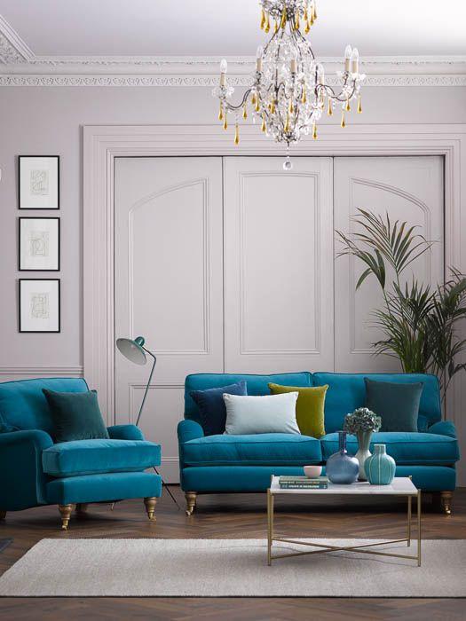Bluebell 2 5 Seat Sofa In Neptune Smart Velvet Teal Sofa Living Room Velvet Living Room Living Room Turquoise