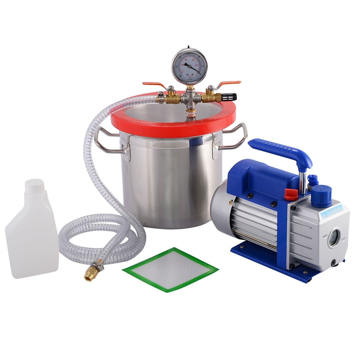 3 Gallon Vacuum Chamber 3.6 CFM Single Stage Pump to Degassing Silicone Kit