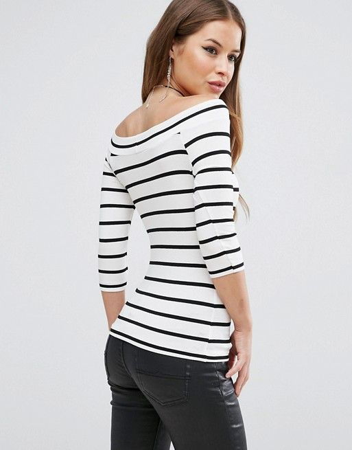 56bfd3c2a1b ASOS PETITE Stripe Top with Bardot Neck and 3 4 Sleeves