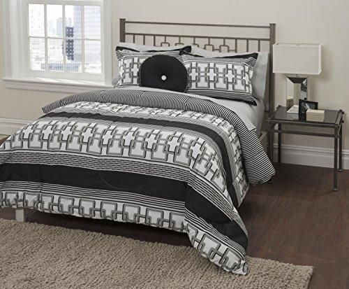 Grey Black Geometric comforters Queen Set Sheets Gray White Horizontal Striped Square Lattice Pattern Textured Bold Line Stripes Trendy Adult Bedding Bedroom Polyester