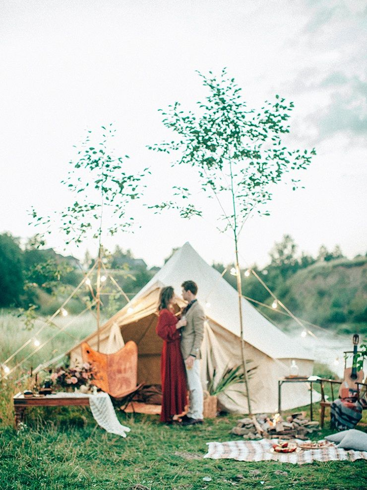 Taupe And Red For An Intimate Autumn Camping Engagement Session in a retro-style