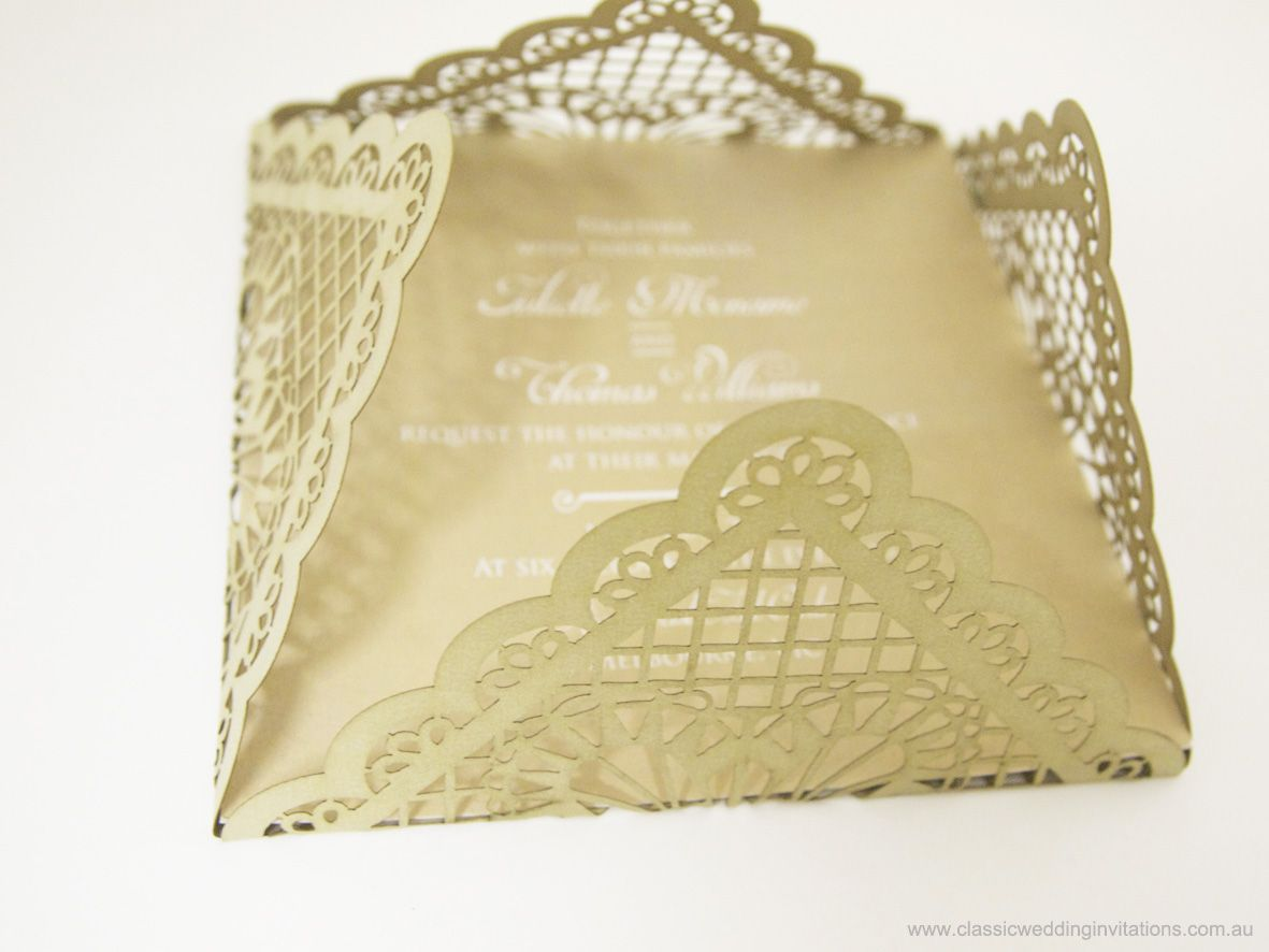 Brown Laser Cut Invite Lace Design From Classic Wedding Invitation