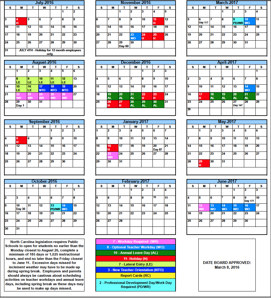 Rcs Calendars  School    County Schools And