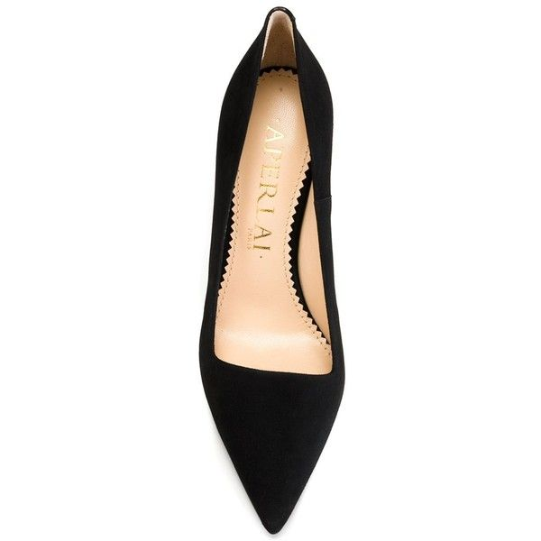 Aperlai '1914' pumps (7.549.850 IDR) ❤ liked on Polyvore featuring shoes, pumps, kohl shoes, chunky black shoes, black pointy-toe pumps, chunky pumps and black suede shoes