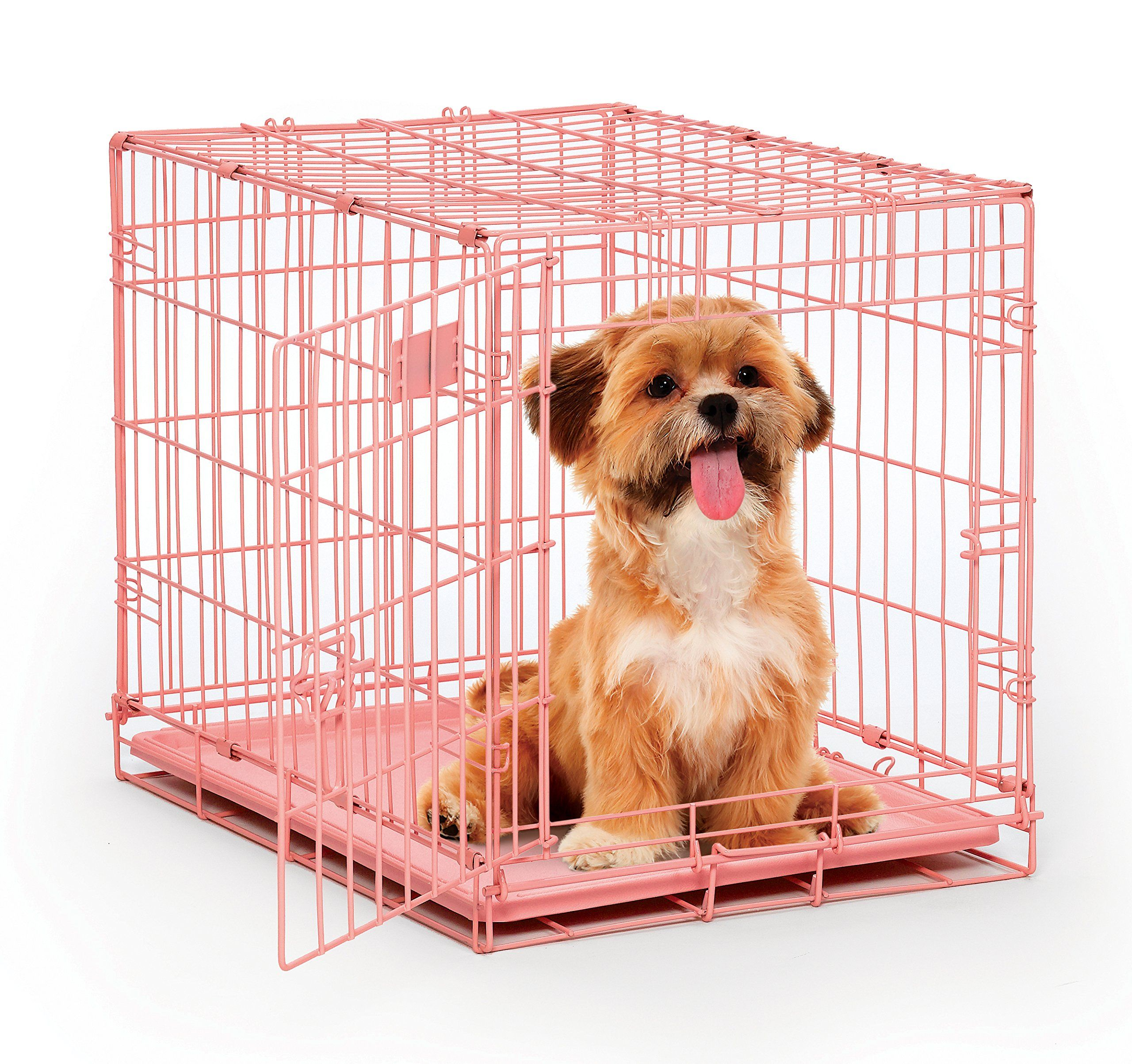 Pink Dog Crate Midwest Icrate 24 Pink Folding Metal Dog Crate W Divider Panel Floor Protecting Feet And Leak Small Dog Crate Pink Dog Crate Folding Dog Crate