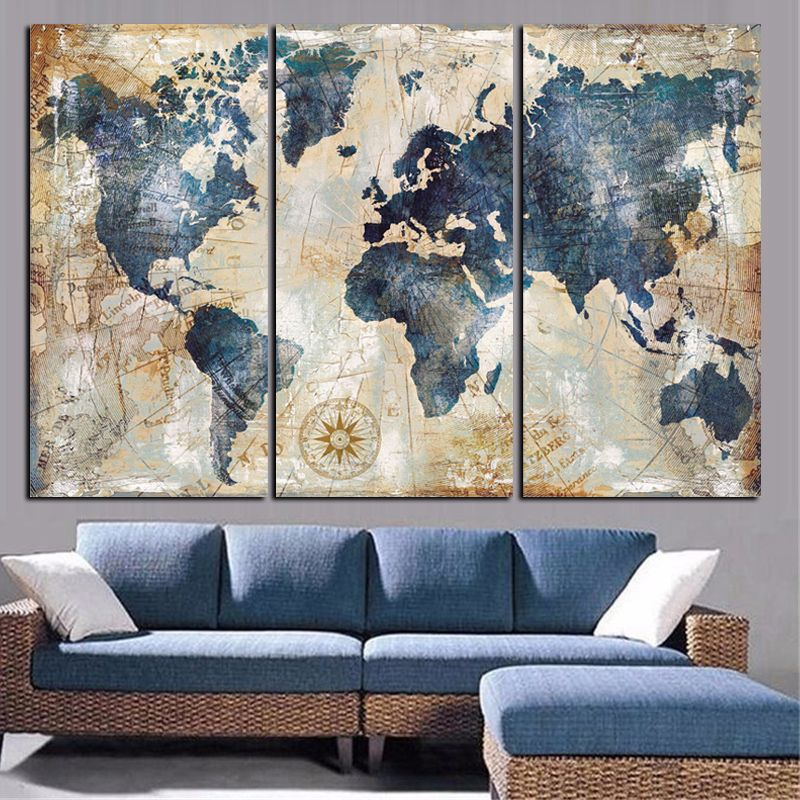 3 Panel Vintage World Map Canvas Wall Art Large Map Of The World