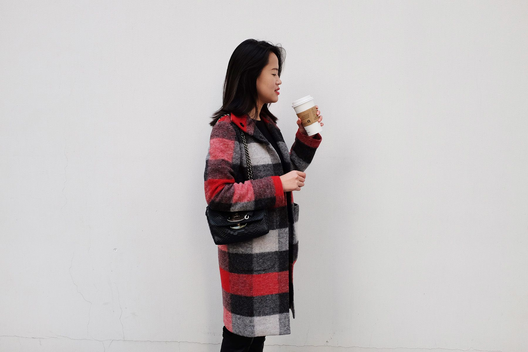 Si Zhao, in Shop Lookbook Checked Wool Coat