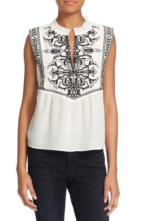 23c661cbe63 Rebecca Taylor  Aztec  Embroidered Sleeveless Silk Top