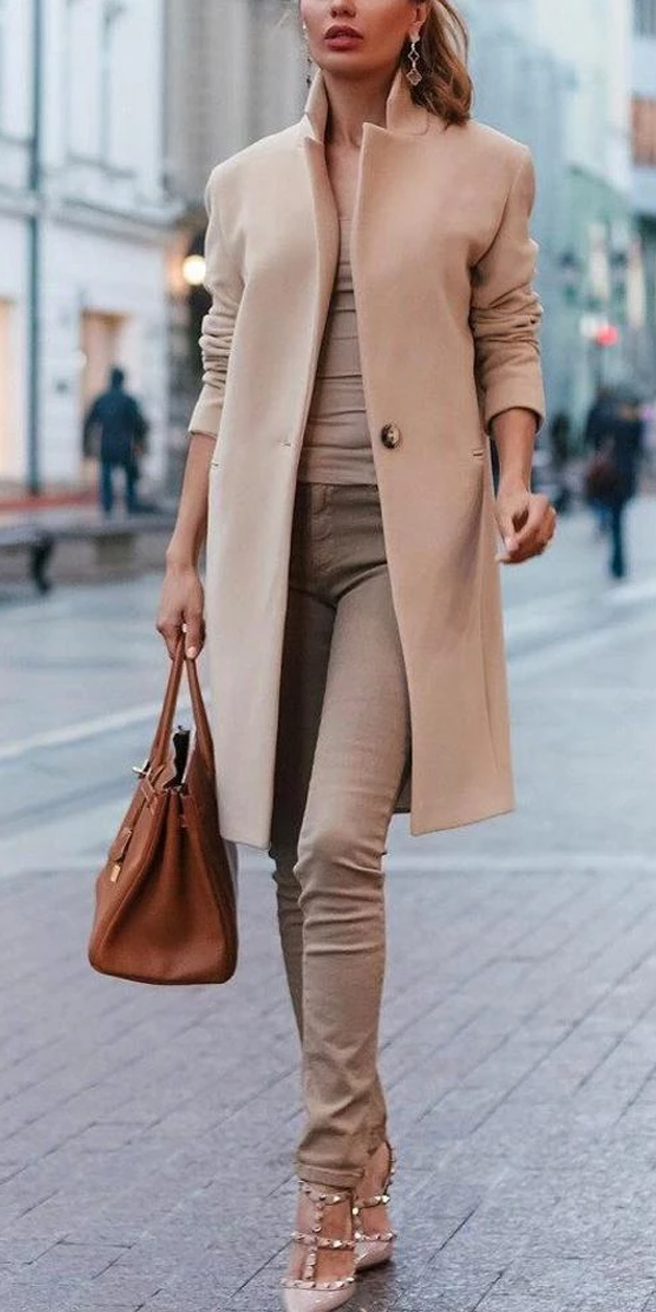 Autumn And Winter Fashion Pure Color Coat #workclotheswomen