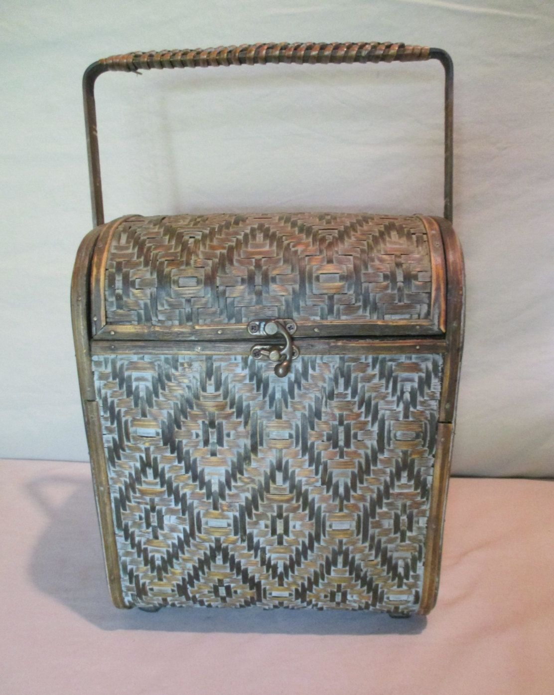Decorative Luggage Box Basket Bag Box Vintage Woven Reed And Bamboo Over Wood Sturdy