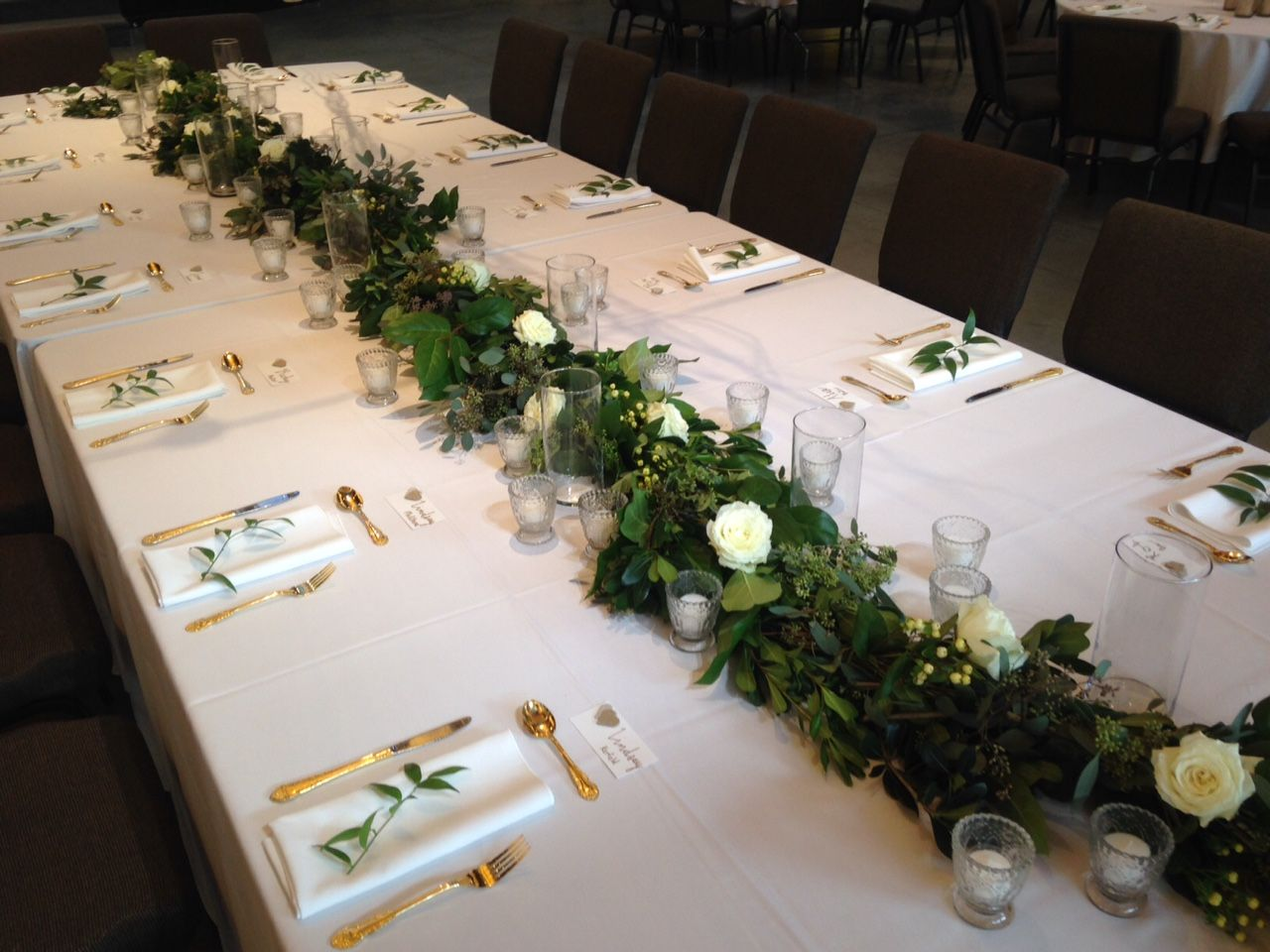 Head Table Garland Using Lush Dark Green Foliage Including Pittosporum, Bay  Laurel And Salal.