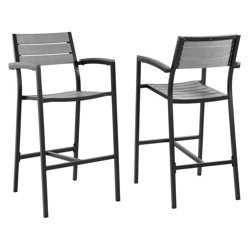 Modway Maine Patio Bar Stool - Set of 2 - EEI-1740-BRN-GRY-SET