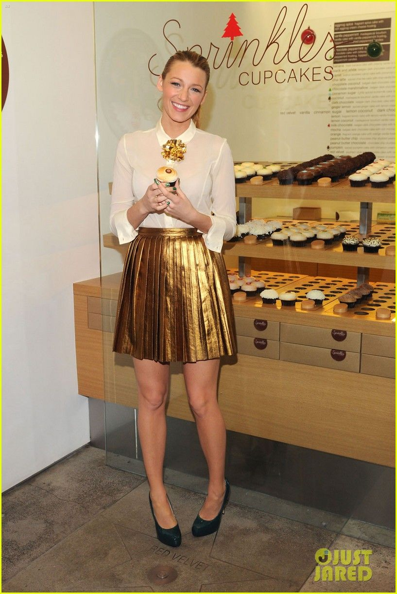 Blake Lively gold metallic leather pleated skirt