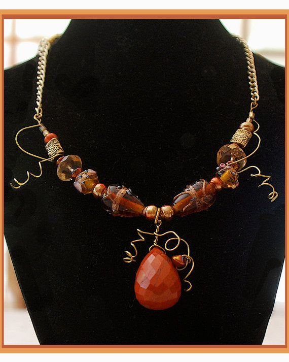 Necklace Poppy Jasper Faceted Briolette by MalibuStyleDesign, $165.00