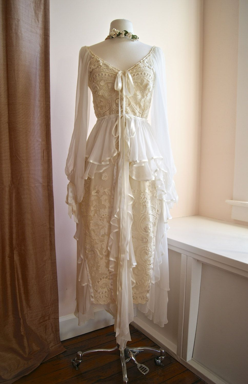 Vintage lace wedding dress s bohemian wedding dress couture