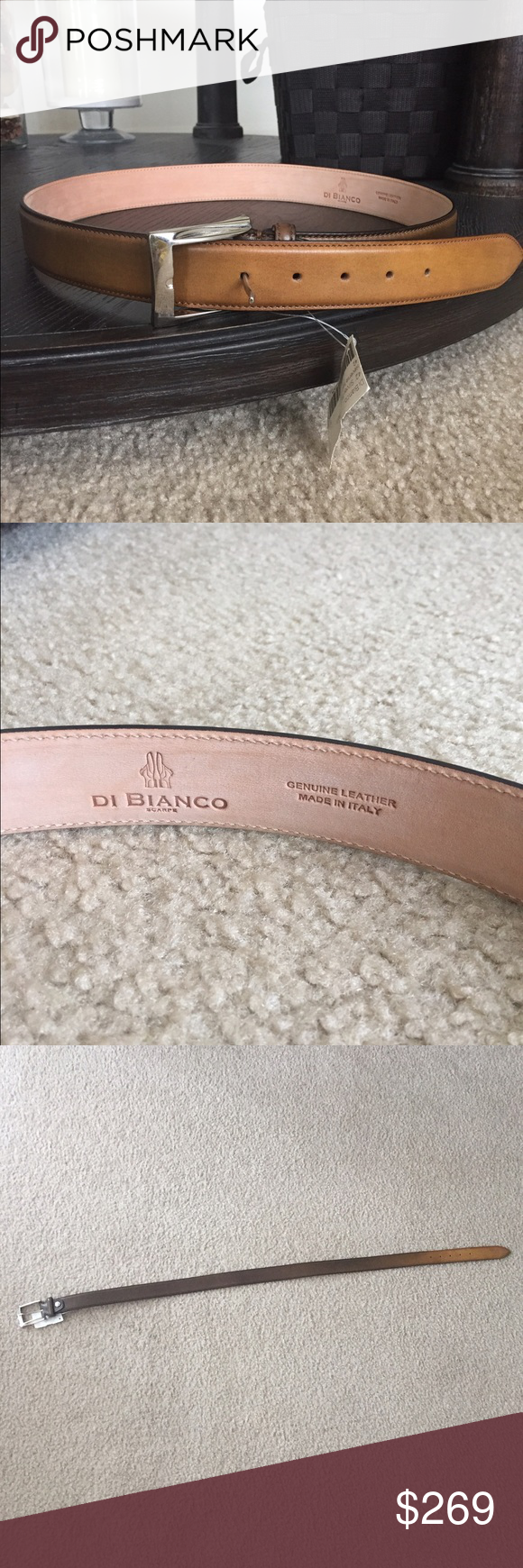 Di Bianco belt Di Bianco Men's genuine leather belt. Made in Italy. Brand new belt for me. 36 inch long for men. Authentic leather. Di Bianco Accessories Belts