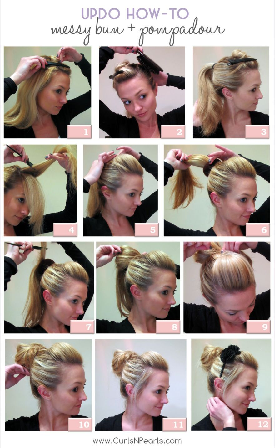Tutorial Messy Bun With Pompadour Bangs Love How She Put A Headband In With A Big Flower Long Hair Styles Hair Donut Cool Hairstyles