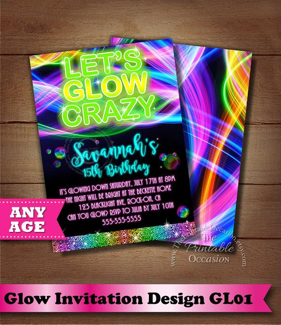 Glow Birthday Party invitation Neon Glow Birthday Party invitation