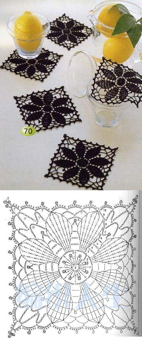 Porta vasos | Crochê filé | Pinterest | Portavasos, Ganchillo y Tejido