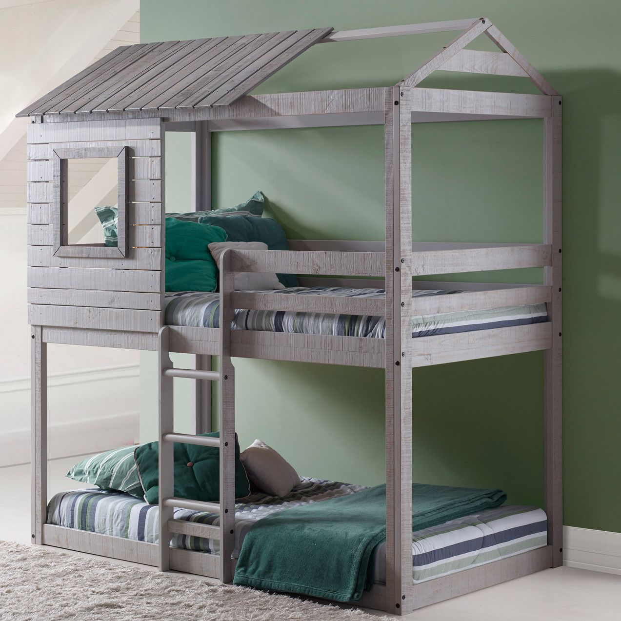 Boys' twin loft bed with storage steps  Donco Kids Twin Bunk Bed  Ideas for the House  Pinterest  Bunk