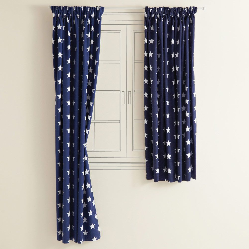 Navy blue bedroom curtains - Kids Blackout Curtains Navy Star Blackout Curtains Room Accessories