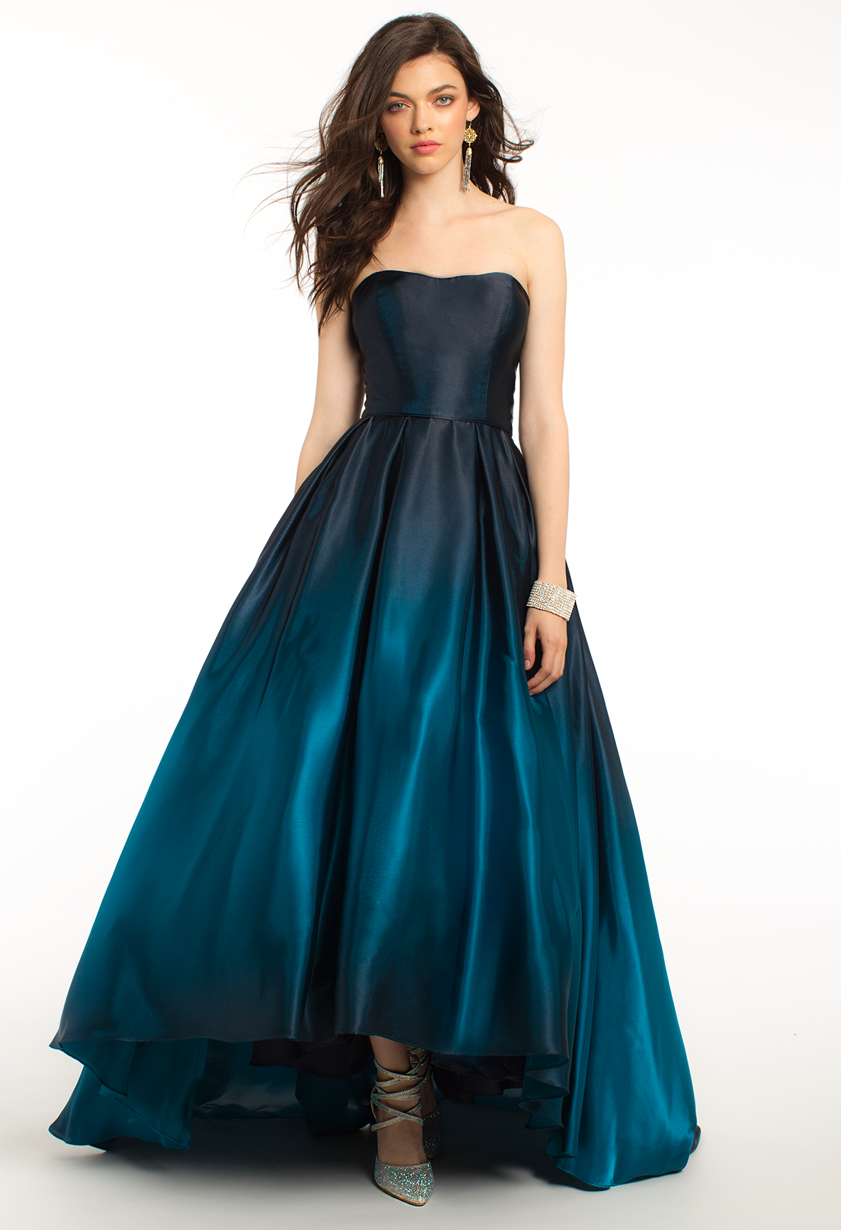 1058e3ae70f Strappy Satin Ombre High-Low Plus Size Ball Gown Prom Dress ...