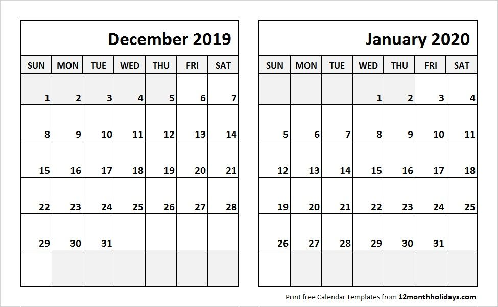 Dec 2019 Jan 2020 Calendar Template Calendar Template 2018 Calendar Template 2020 Calendar Template