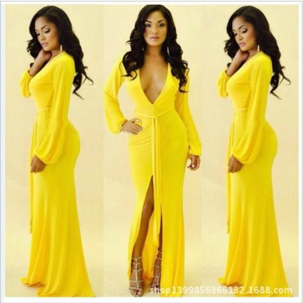 7fe272e809fb Sexy V Neck Long Sleeve Yellow Dress on Luulla | Pretty Things ...
