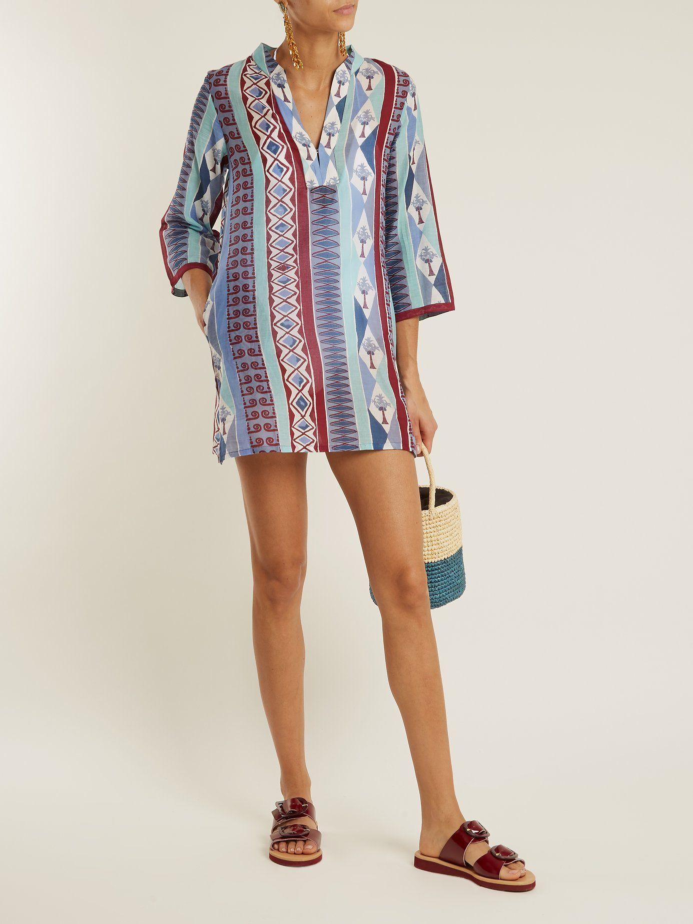Gretta Arlechino-print cotton dress Emporio Sirenuse RnTRHnf4
