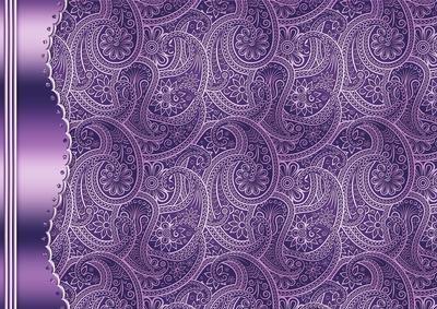 Purple Embossed Paisley with Metallic Border Paisley