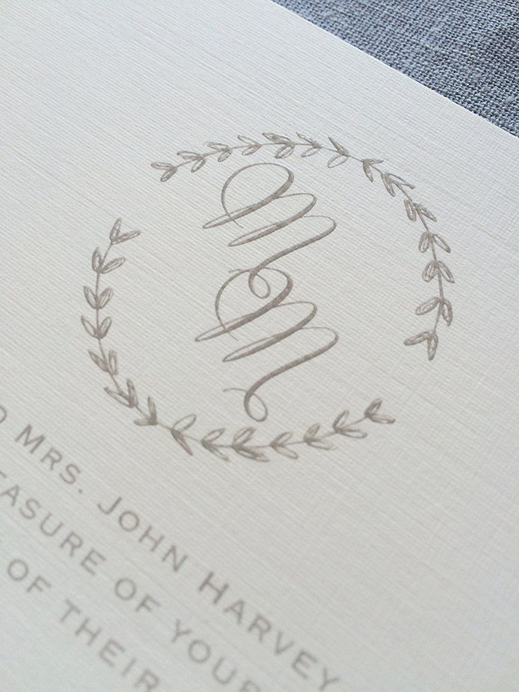 Drawn Laurel wedding invitation featuring calligraphy initials and ...