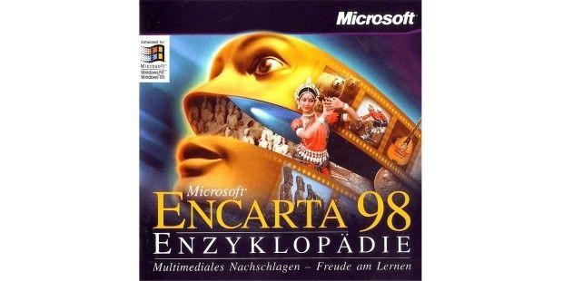 """Microsoft Encarta -Die erste Version der Microsoft Encarta kommt 1993 auf den Markt. Die zunächst unter dem Codenamen """"Gandalf"""" entwickelte Enzyklopädie erschien jährlich in einer neuen Version, auf dem Bild ist die Ausgabe von 1998 zu sehen, die auch Updates über das Internet unterstützte. 2009 stellt Microsoft alle Encarta-Angebote ein."""