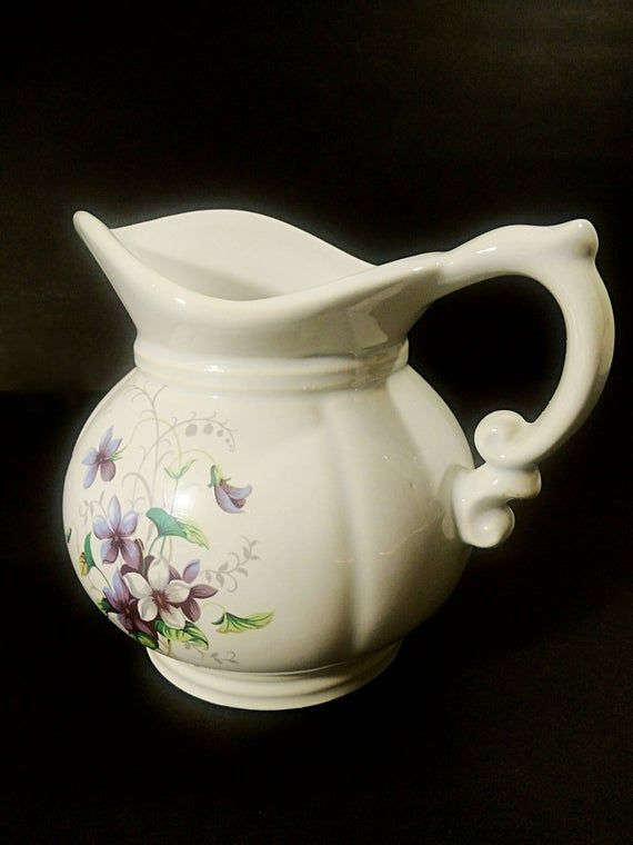 vintage mccoy pitcher set 7528 made in usa purple flower etsy pitcher set cottage kitchen on kitchen decor pitchers carafes id=43018