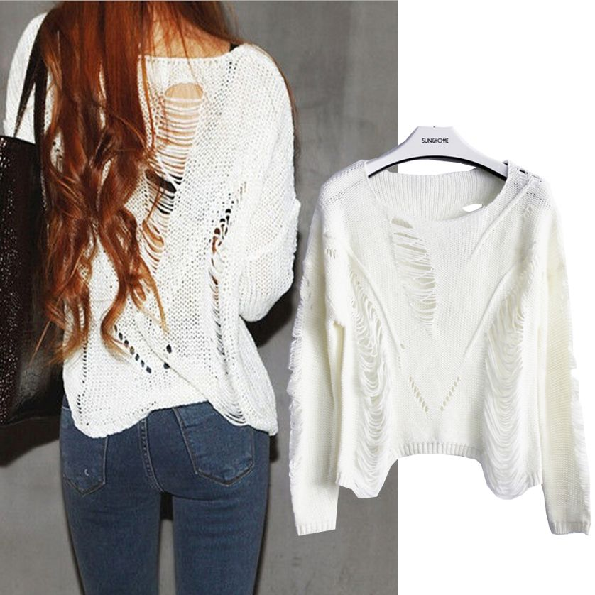 Women's Batwing Sleeve Destroyed Ripped Slouchy Cropped Sweater ...