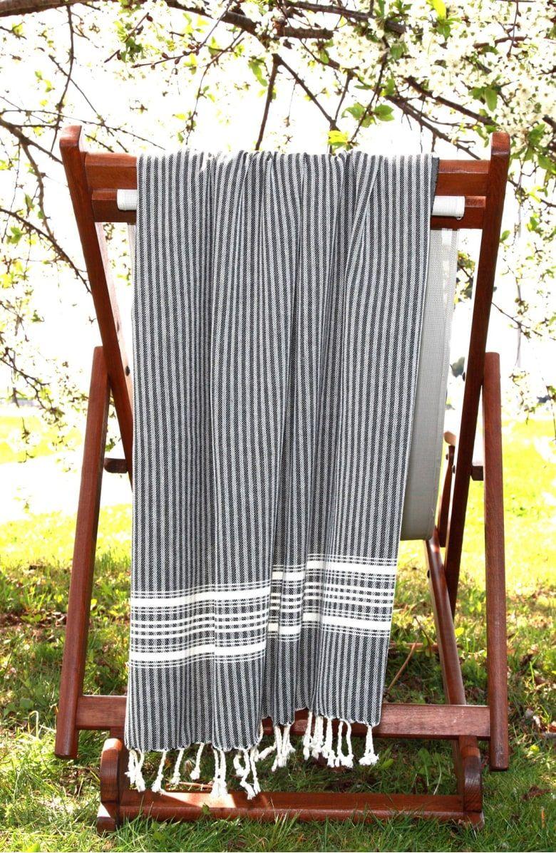 Luxe herringboneu turkish pestemal towel main color black home
