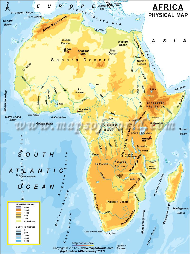 Physical map of Africa Atlas Mountains Great Rift Valley Sahara