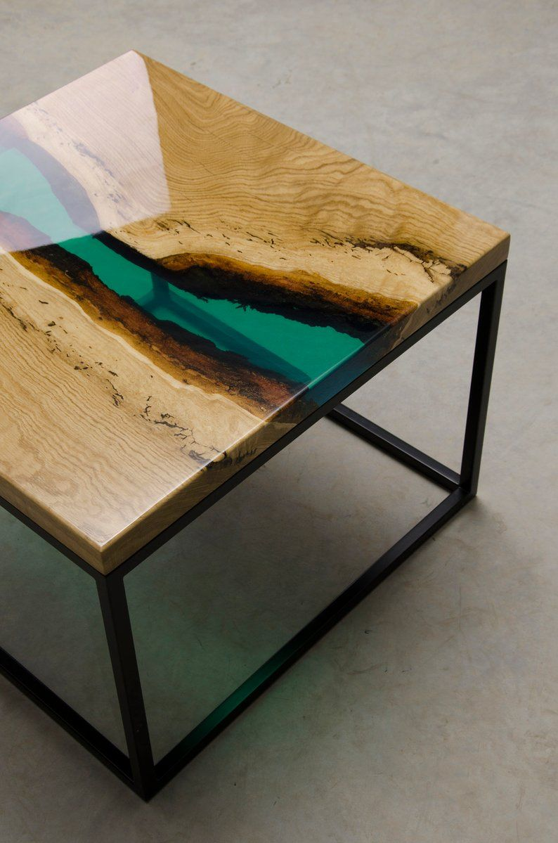 Couchtisch Eye Live Edge Coffee Table, Epoxy Resin Table, Epoxy Table