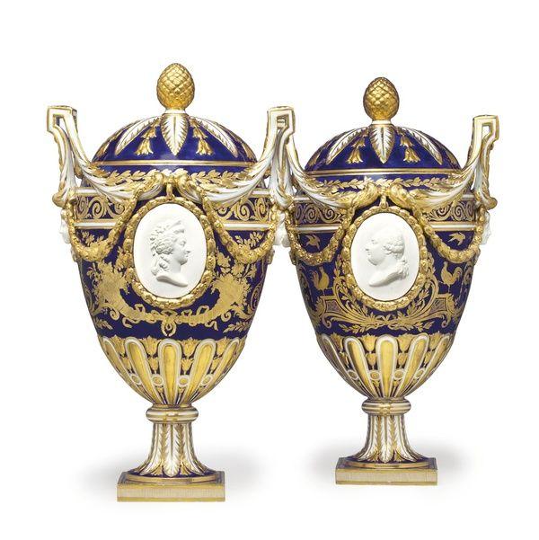 A magnificent pair of Sèvres porcelain bleu nouveau two-handled vases and covers, circa 1774, estimate: $250,000-350,000